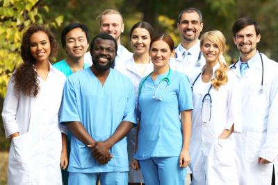 Smiling medics team